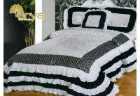 Покрывало Arya Ripso White черно-белое  с декоративной подушкой