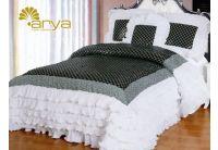 Покрывало Arya Ripso Black черно-белое  с декоративной подушкой