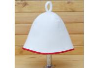 Шапка для сауны Комфорт бело-красная