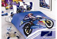 Arya, Motorbike blue, 1,5-спальный комплект белья, сатин