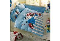 Постельное белье в детскую кроватку Kristal. Panda, голубого цвета