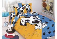 Arya, Puppy Blue, 1,5-спальный комплект белья, сатин